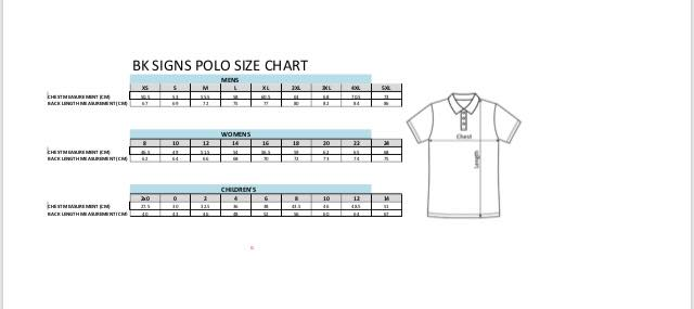 Sizing Chart for Merchandise