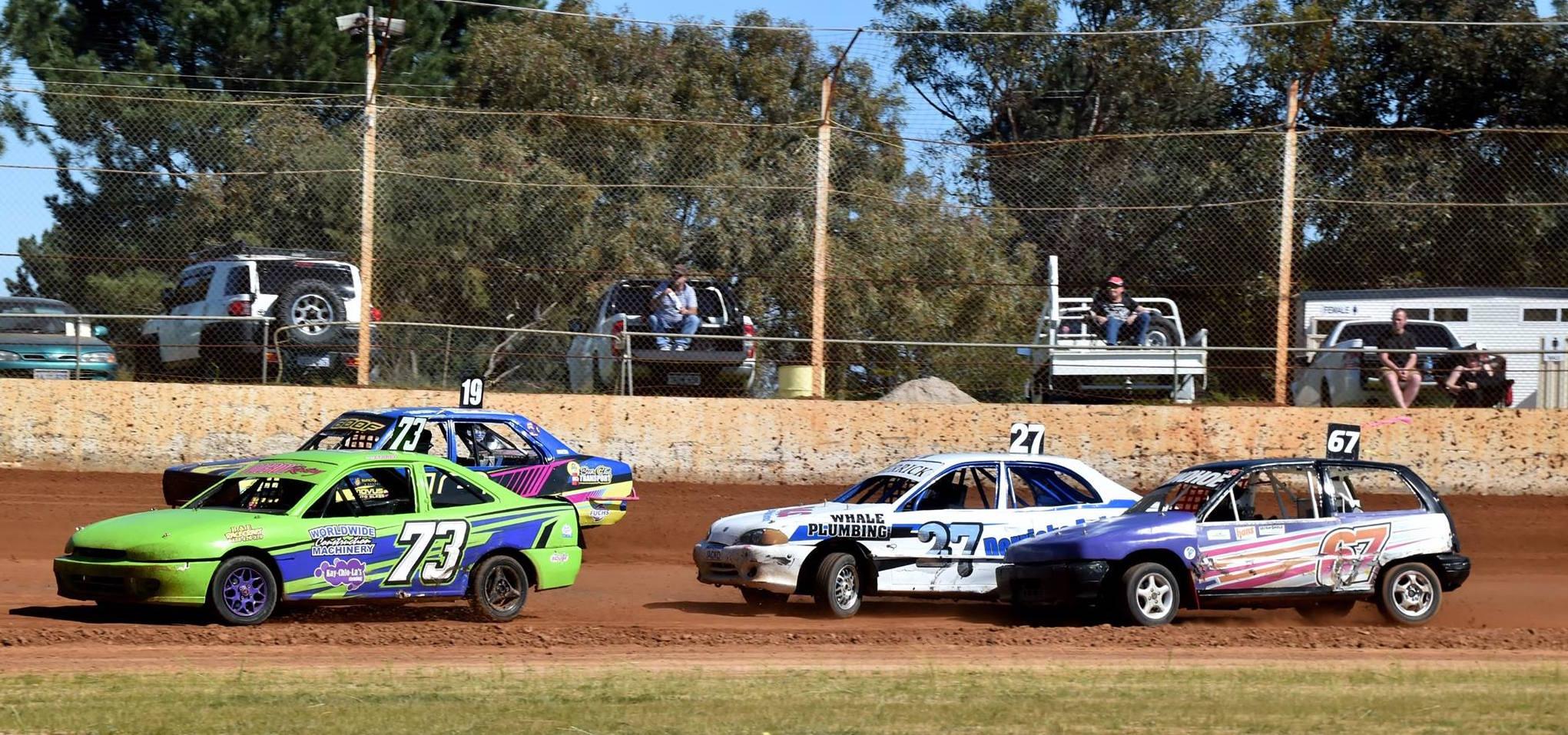 Junior Sedans in action at Ellenbrook Speedway earlier this year.